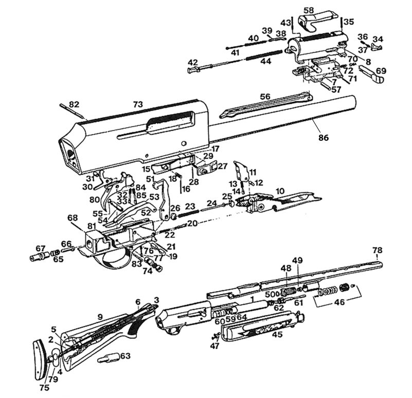 Browning Shotguns B-80 gun schematic