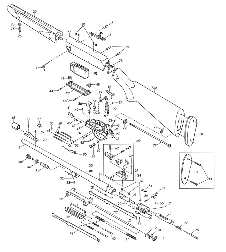 Browning Rifles BAR Mark II Lightweight gun schematic