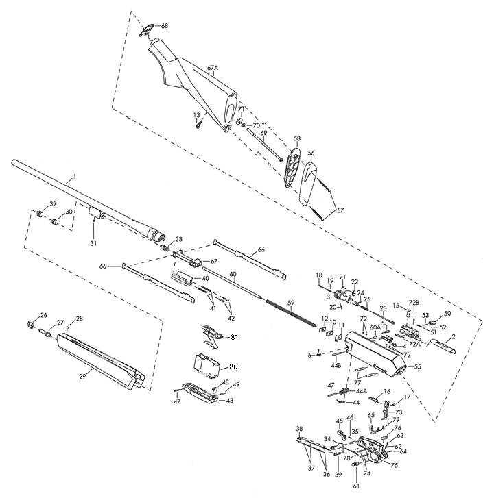 Browning Rifles BAR LongTrac gun schematic