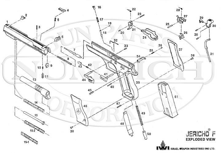 KBI Auto Pistols Jericho F (IMI - Israel or IWI - Israel) gun schematic