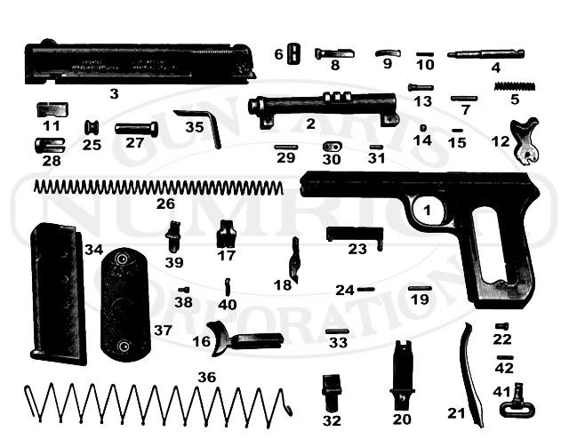 Colt Auto Pistols 1902 Military Hammer gun schematic