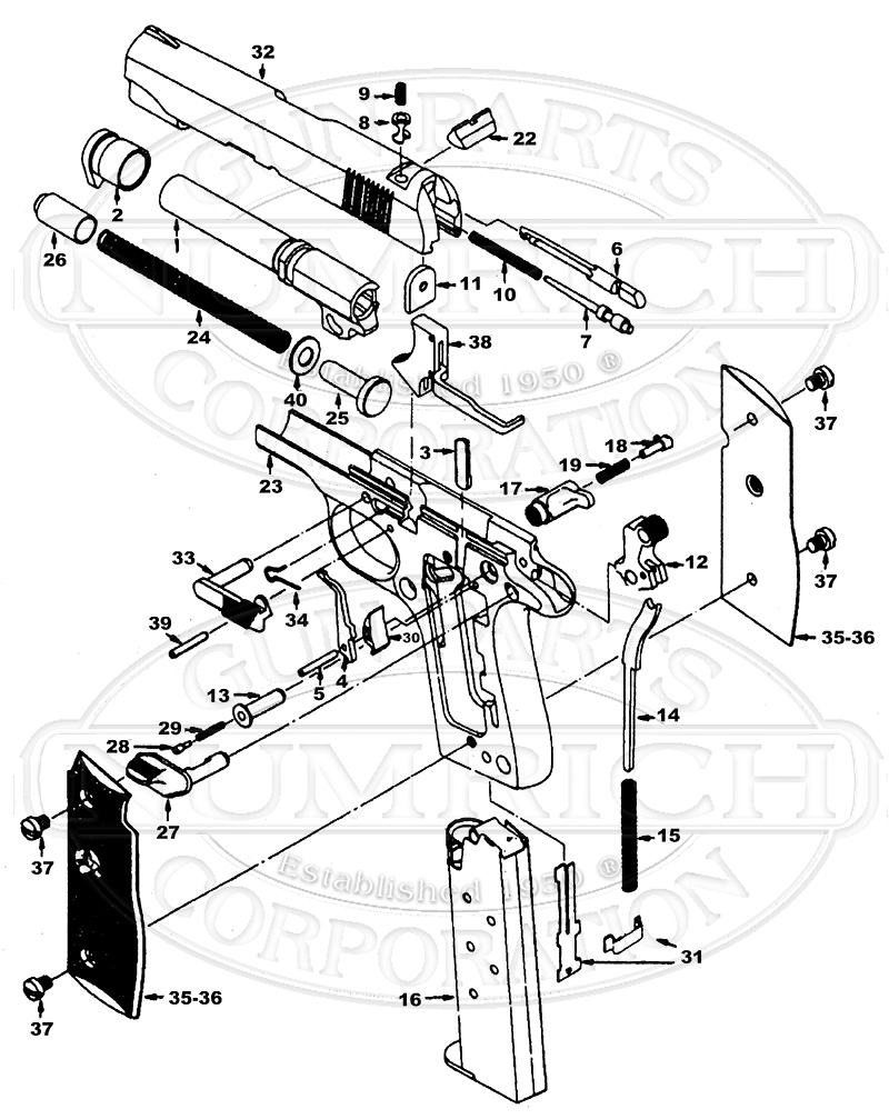 Colt Auto Pistols Government 380 gun schematic