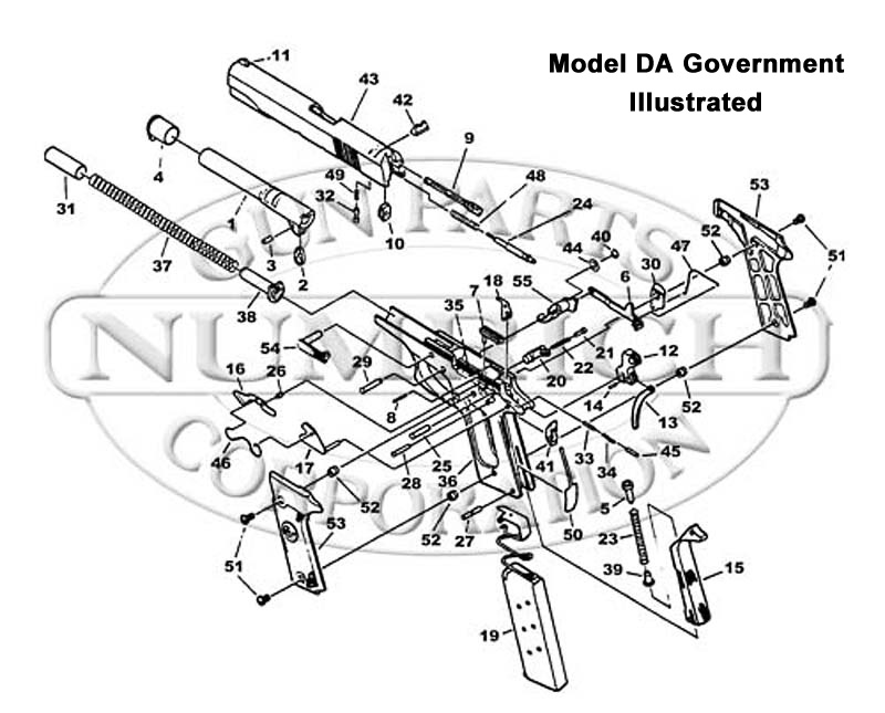 Colt Auto Pistols DA Government gun schematic