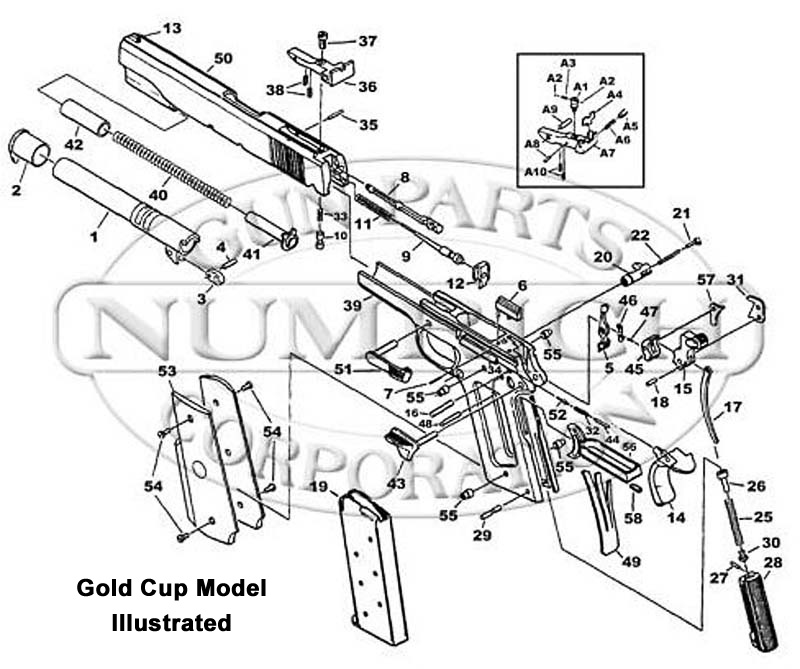 Colt Auto Pistols 1911 Government Series 70 (O Frame) Parts List gun schematic