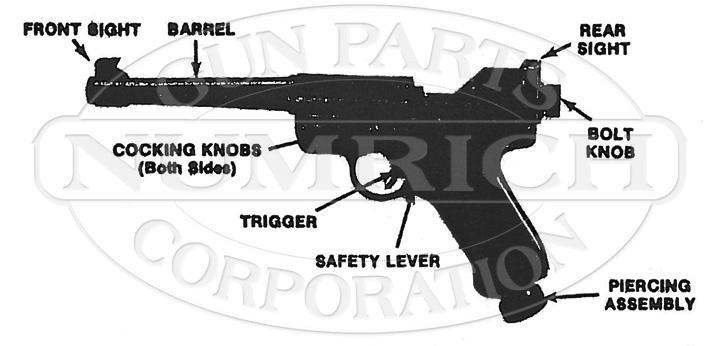 Crosman Pistols MKI Gas Pistol gun schematic