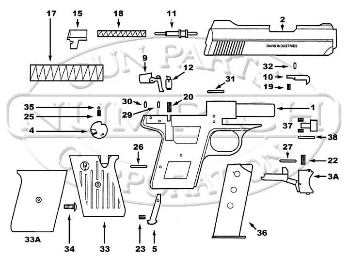 Davis P-380 Schematic | Numrich on handgun illustrations, handgun drawings, handgun prototypes, handgun components, handgun power, handgun accessories, handgun dimensions, handgun blueprints, handgun safety, handgun concepts, handgun information, handgun diagrams, handgun parts,