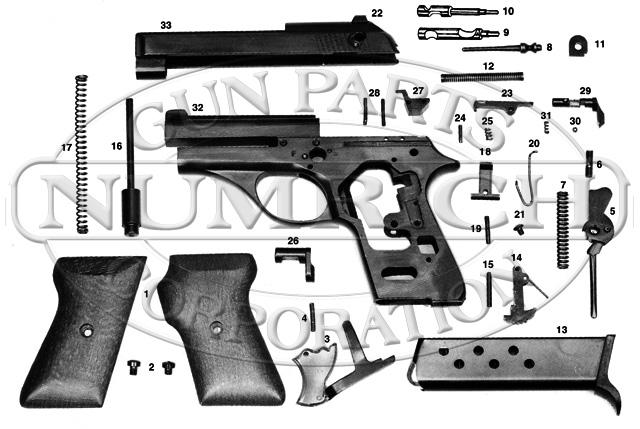 Excam Auto Pistols Titan II GT-32 gun schematic