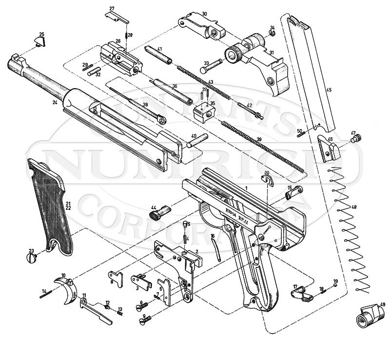 Erma Auto Pistols EP22 gun schematic