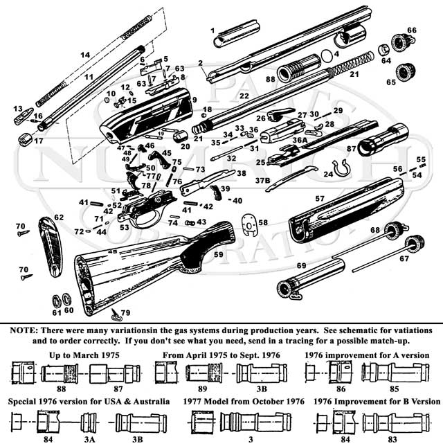 Franchi Shotguns Semi-Auto Gas Operated Shotguns 500 gun schematic