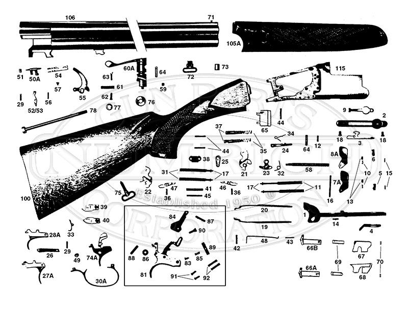 Franchi Shotguns Over/Under Falconet 2000 gun schematic