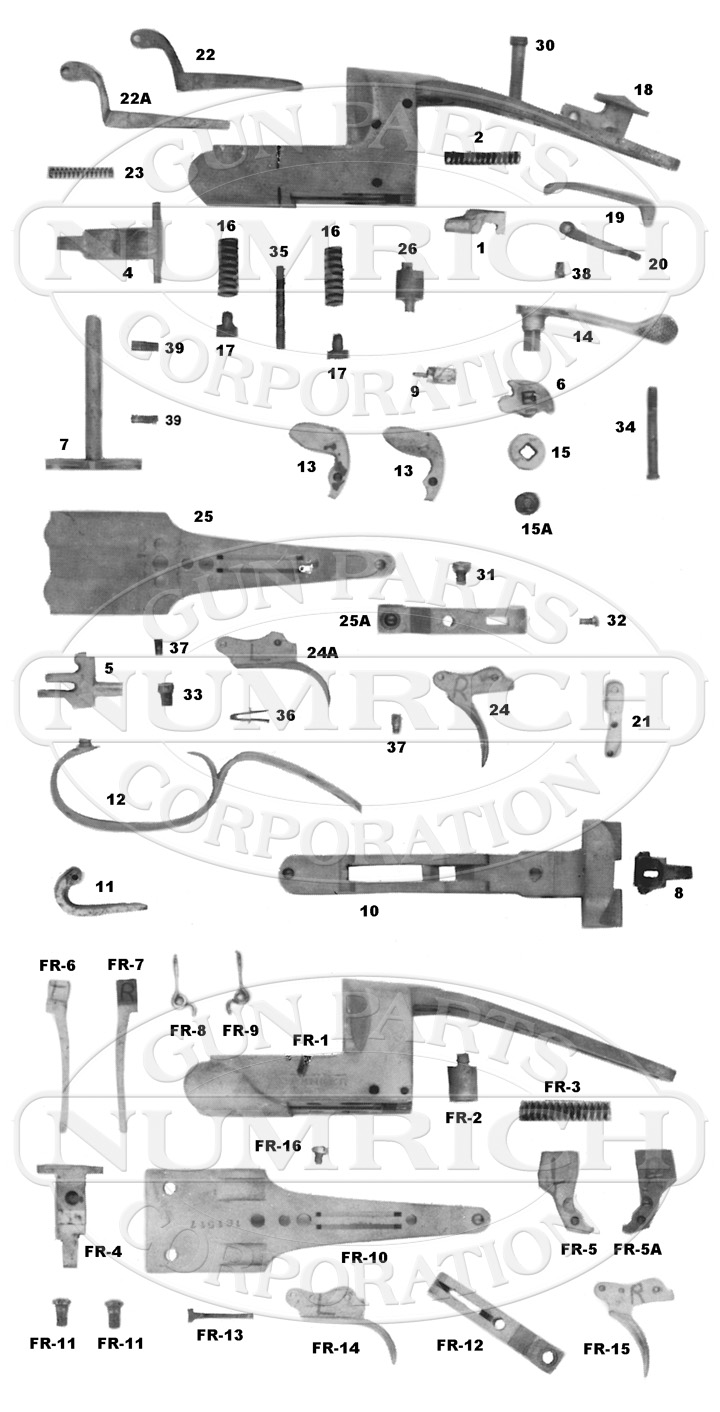 Fulton Double Barrel Hammerless gun schematic