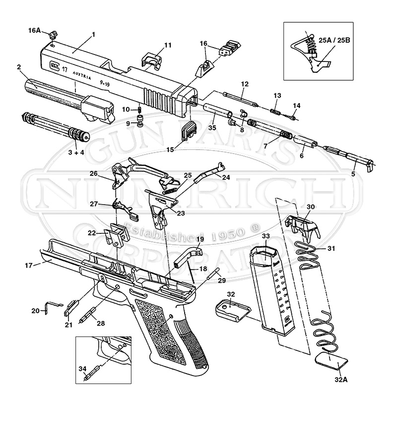 27 schematic numrich rh gunpartscorp com glock diagram of parts without labels glock diagram extractor