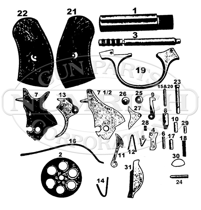 Harrington & Richardson Revolvers 1904 gun schematic