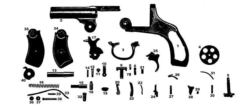 Harrington & Richardson Revolvers Old Model Large Frame Police Automatic gun schematic