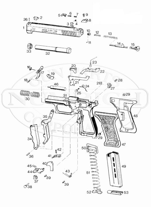 Heckler & Koch Auto Pistols P7K3 gun schematic