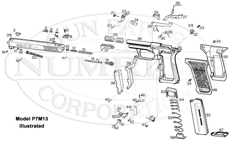 Heckler & Koch Auto Pistols P7M10 gun schematic