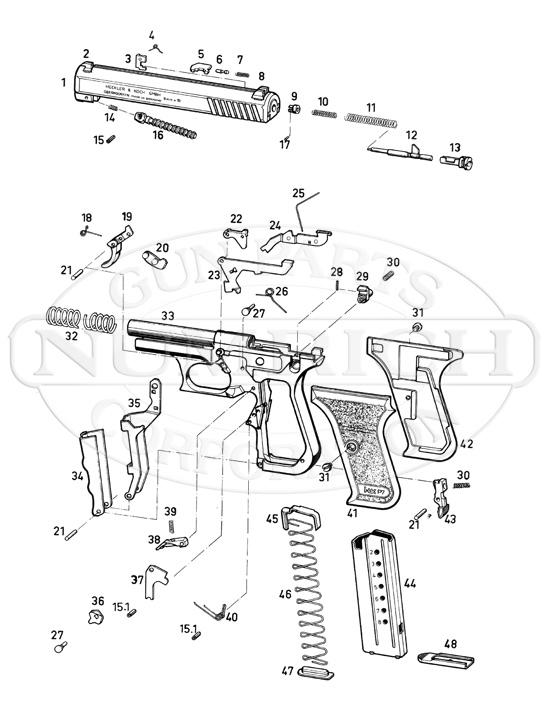 Heckler & Koch Auto Pistols P7PSP gun schematic