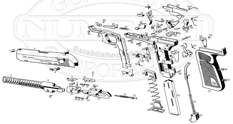 Heckler & Koch Auto Pistols P9S45 gun schematic