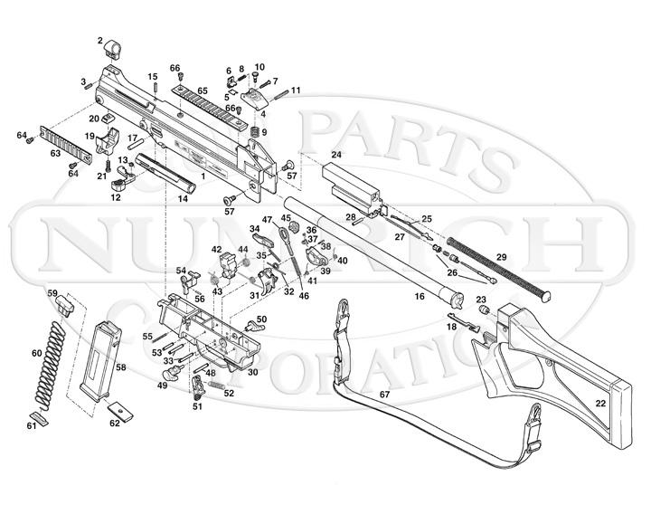 Heckler & Koch Rifles USC45 gun schematic