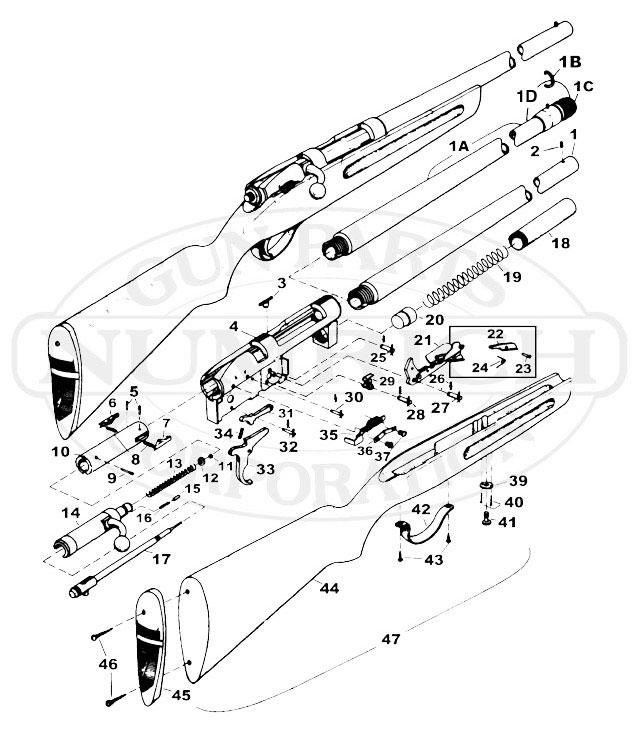 High Standard Shotguns 514.1400 Repeater gun schematic