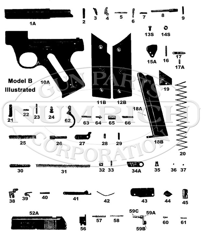 High Standard Model B Parts for Sale | Numrich on revolver diagram, bosch 1942 heat gun diagram, handgun components, handgun barrel, fishing diagram, scope diagram, handgun safety diagram, 1911 gun diagram, handgun illustrations, firearms diagram, bb gun diagram, handgun light, rimfire diagram, handgun terminology, handgun anatomy, colt 1911 assembly diagram, handgun brand names, rifle diagram, shotgun diagram, handgun ammunition diagram,