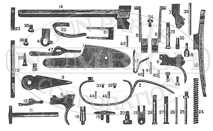 Hopkins & Allen Shotguns 110 Hammerless Double Barrel gun schematic