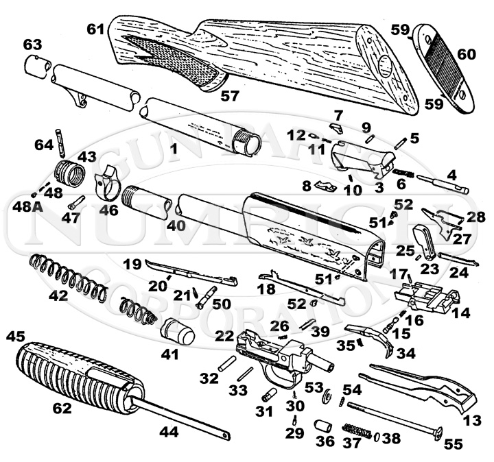 Ithaca & SKB Shotguns 37 Featherlight Parts List gun schematic