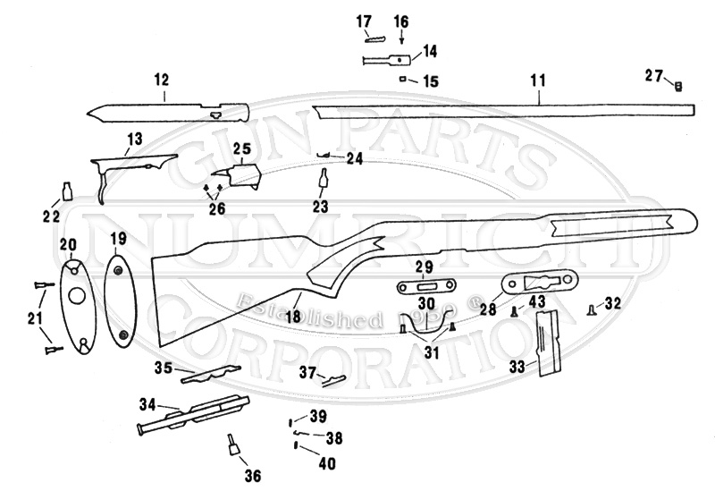 Iver Johnson Rifles Trailblazer 22HB gun schematic
