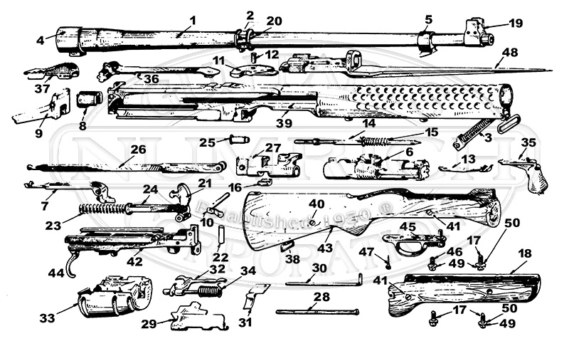 Johnson Semi-Auto 1941 gun schematic