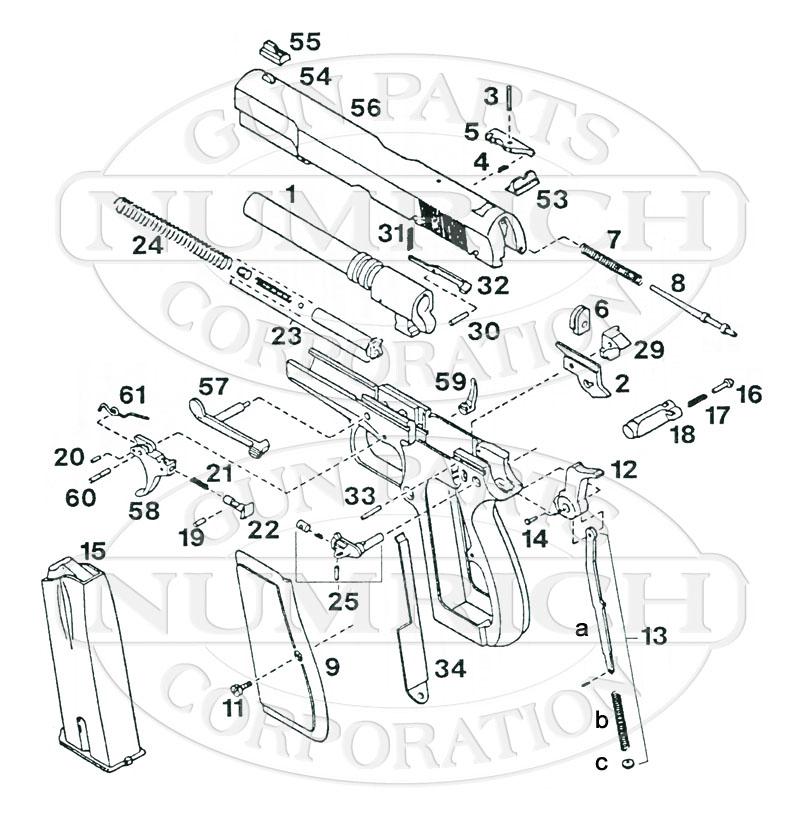 Kassnar Auto Pistols PJK-9HP (FEG - Hungary) gun schematic