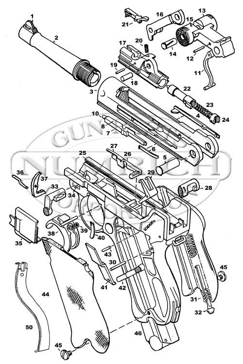 Luger P-08 gun schematic
