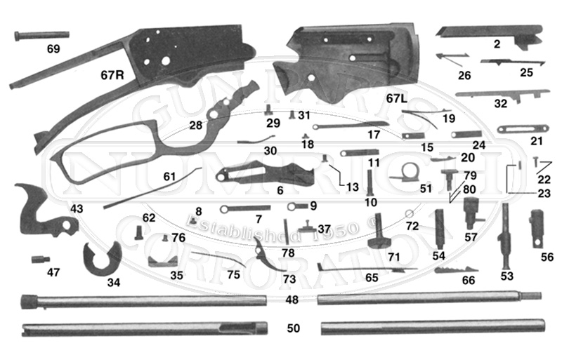 Marlin/Glenfield Rifles 39 Series 39A Early Model gun schematic