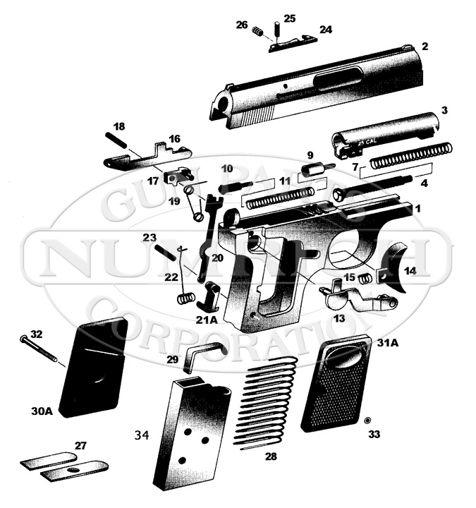 Bauer Firearms Corp. .25 Auto Pistol gun schematic