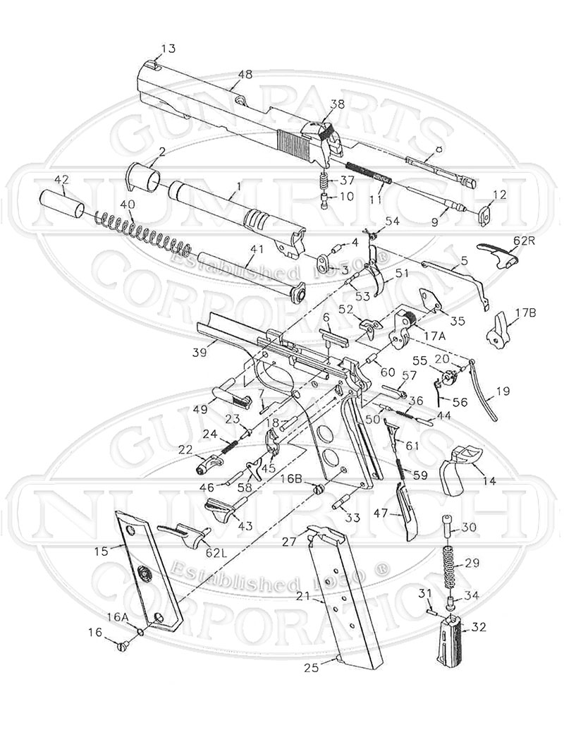 1911 exploded parts diagram