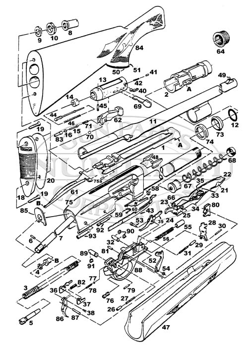 remington 1100 parts list schematic numrich rh gunpartscorp com Remington 870 Assembly Diagram remington 11-87 premier parts diagram