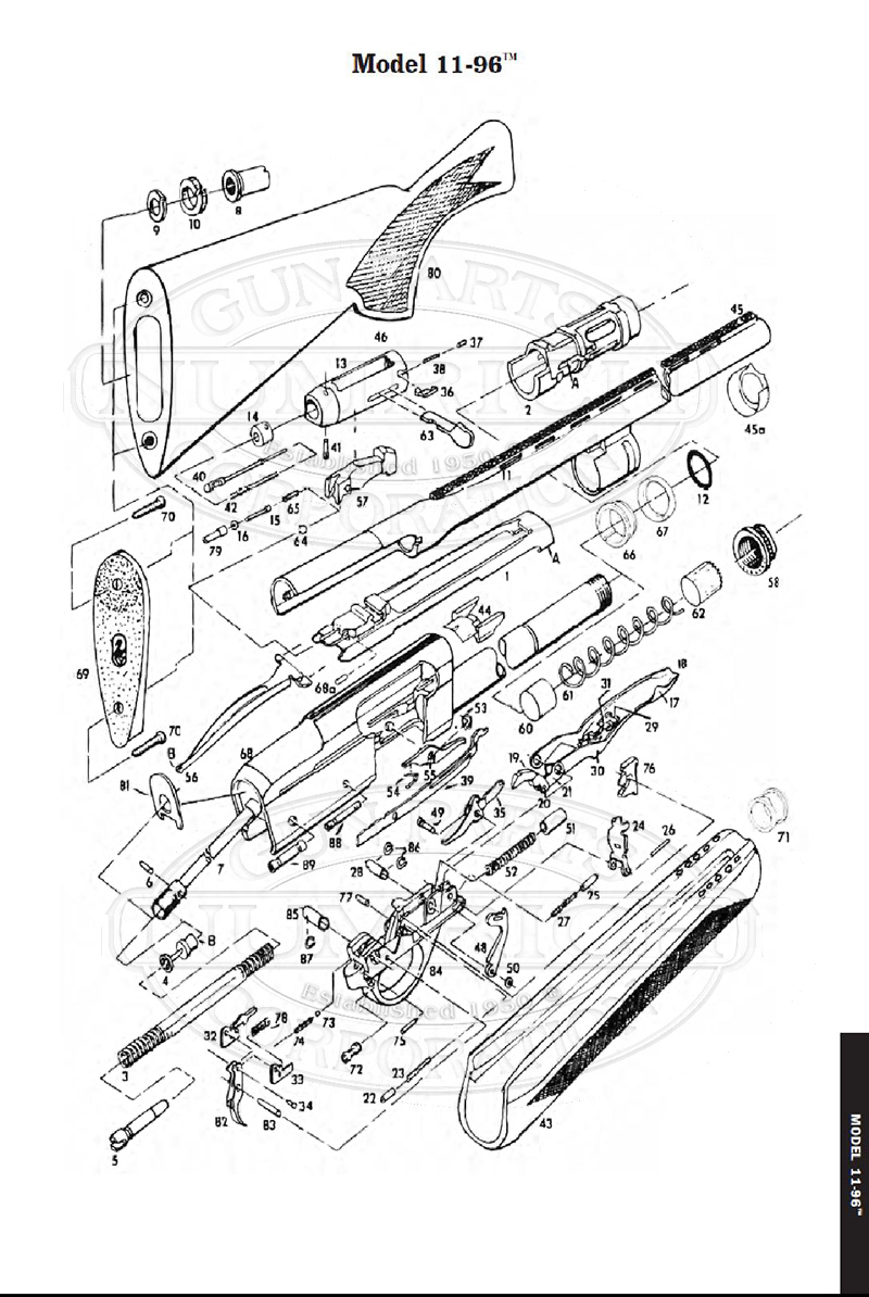 Remington Shotguns 1196 gun schematic