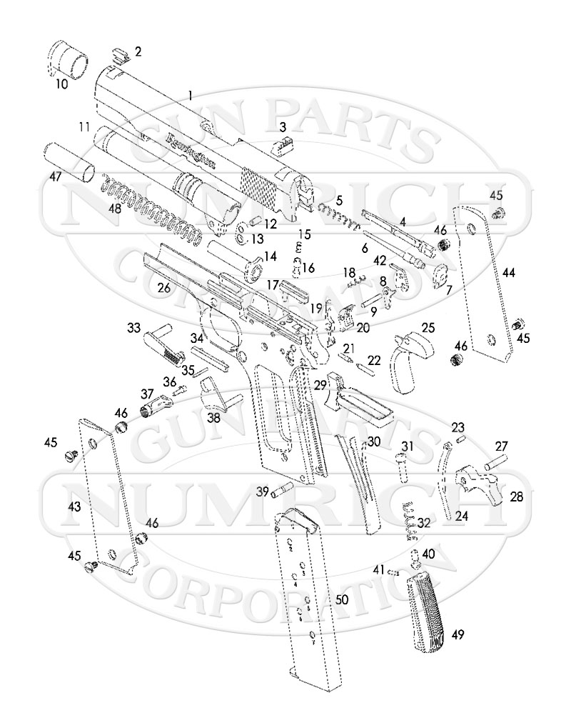 Remington Auto Pistols 1911 gun schematic