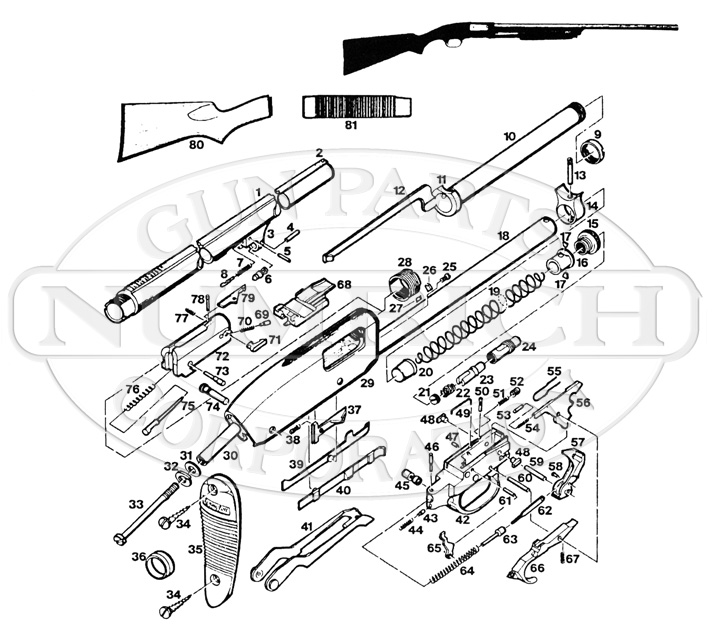 Schematic Of Remington Model 10 Shotgun Parts Diagram