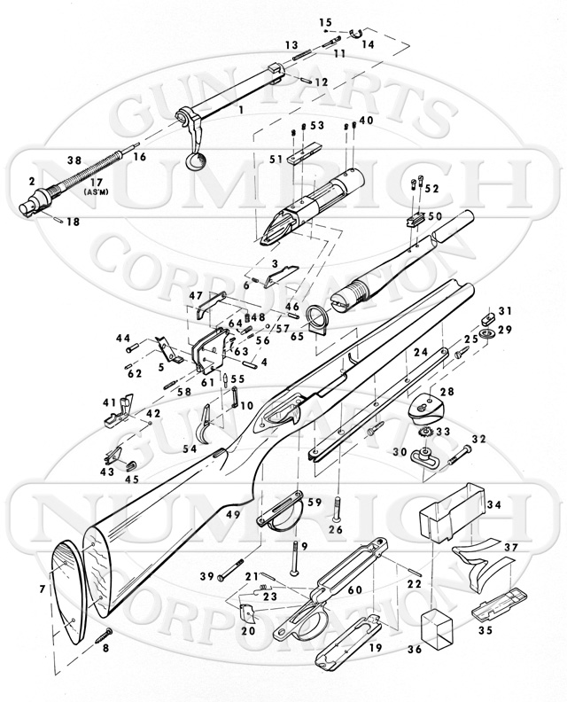 Remington Rifles 40XB Centerfire gun schematic