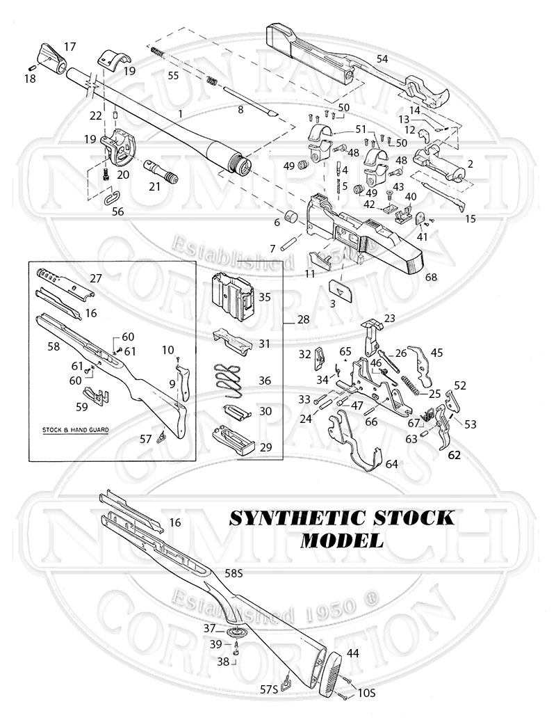 Ruger Rifles Mini-14 Ranch Rifle (187-188, 195-197 Series) gun schematic