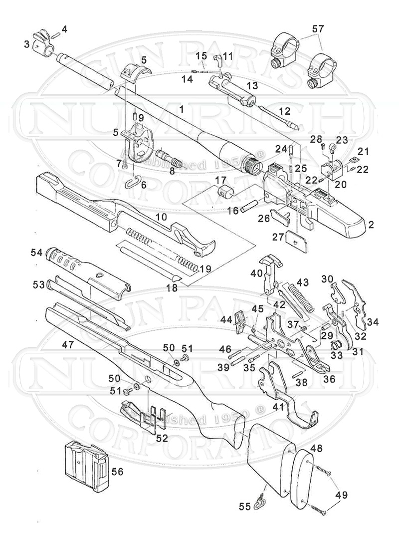 Ruger Rifles Mini-14 Ranch Rifle (580 Series) gun schematic