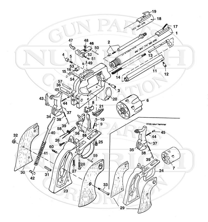 Ruger Revolvers New Model Blackhawk gun schematic
