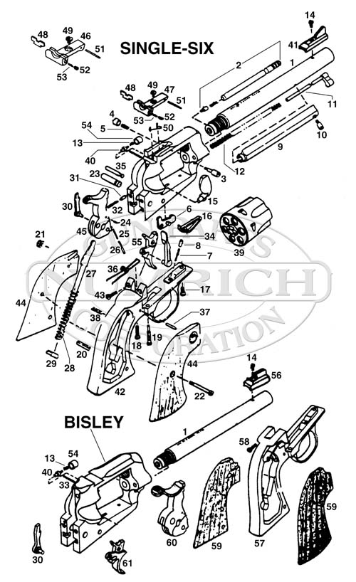 Ruger Revolvers New Model Single Six gun schematic