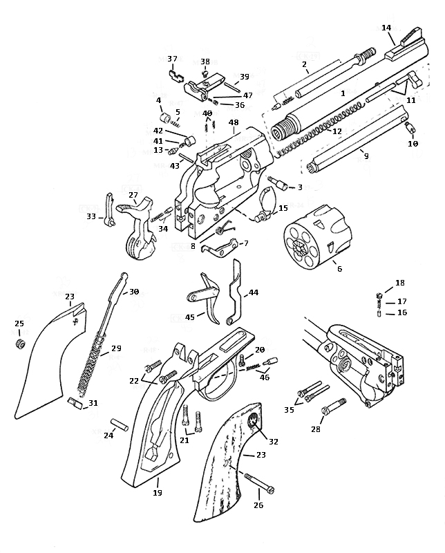 Ruger Revolvers Old Model Blackhawk gun schematic