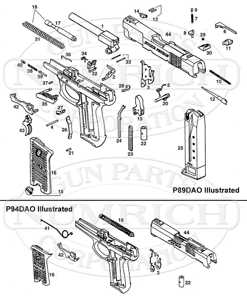 Ruger Auto Pistols P89DAO gun schematic