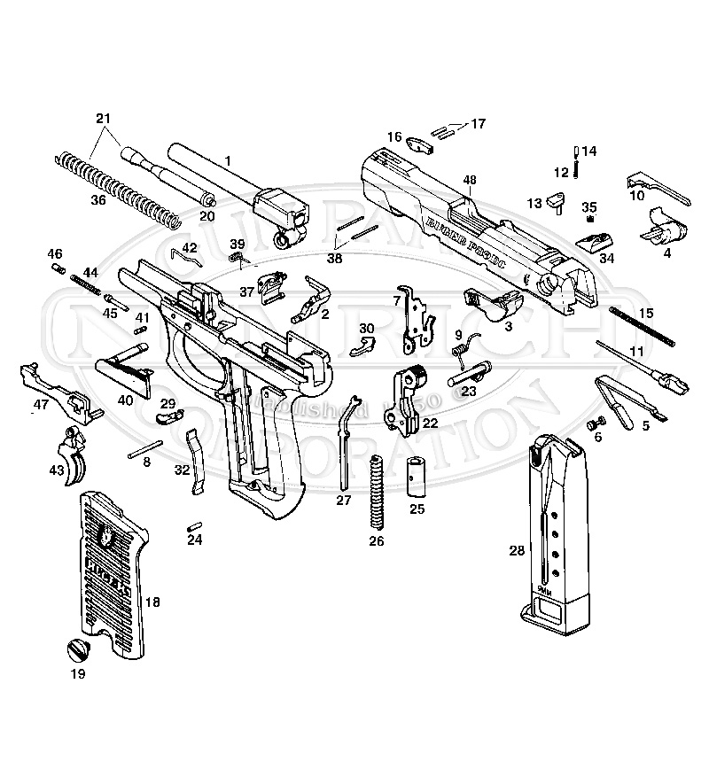 Ruger Auto Pistols P89D gun schematic