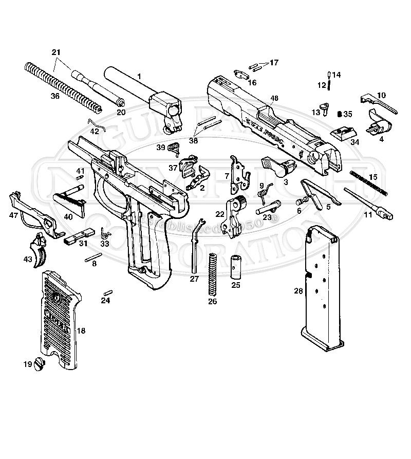 Ruger Auto Pistols P90D gun schematic