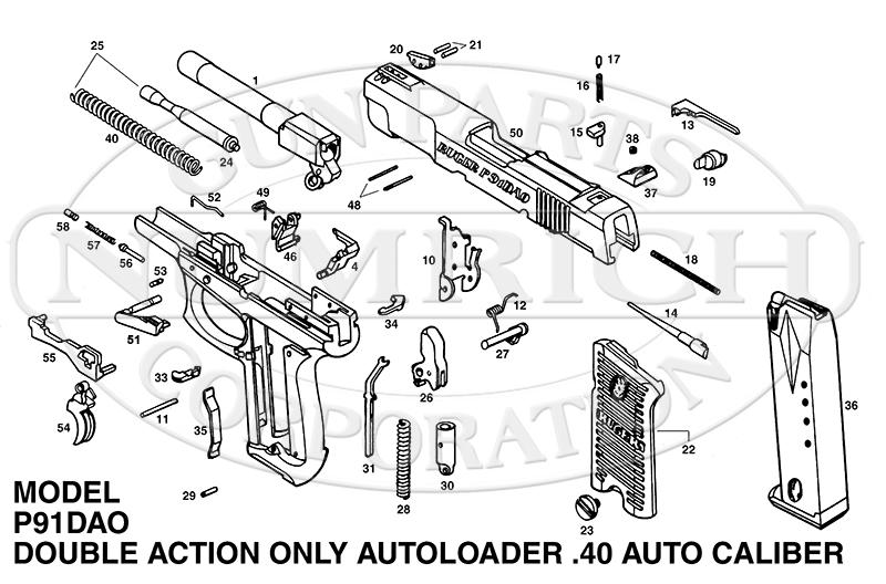 Ruger Auto Pistols P91DAO gun schematic