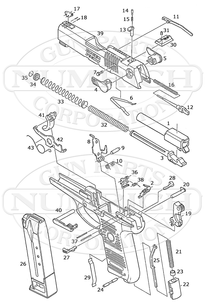 Ruger Auto Pistols P97DC gun schematic