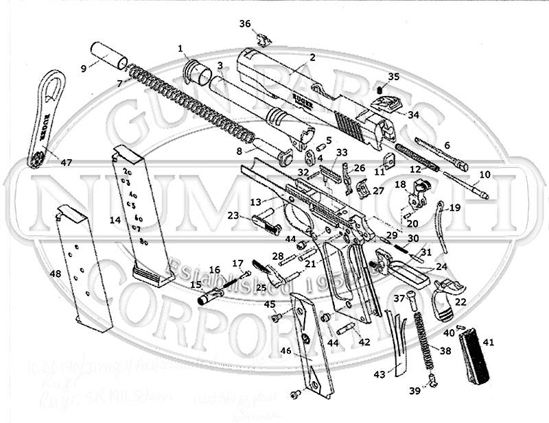 Ruger Auto Pistols SR1911 gun schematic